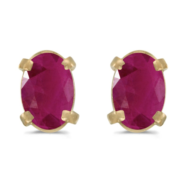 Color Merchants 14k Yellow Gold Oval Ruby Earrings