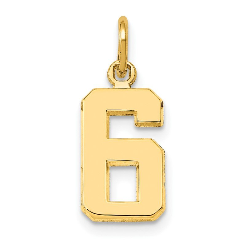 Quality Gold 14ky Casted Small Polished Number 6 Charm