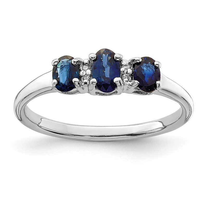 Quality Gold Sterling Silver Rhodium 3 Oval Sapphire & Diamond Ring
