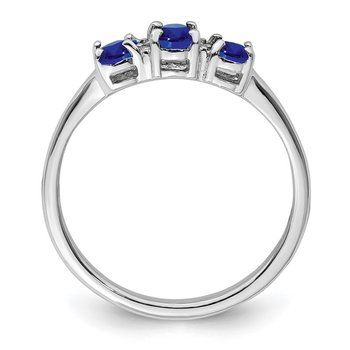 Sterling Silver Rhodium 3 Oval Sapphire & Diamond Ring