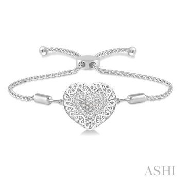 silver puff heart shape lariat diamond bracelet
