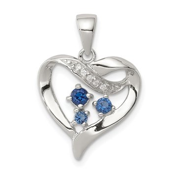 Sterling Silver Rhodium-plated Blue Glass and Clear CZ Heart Pendant