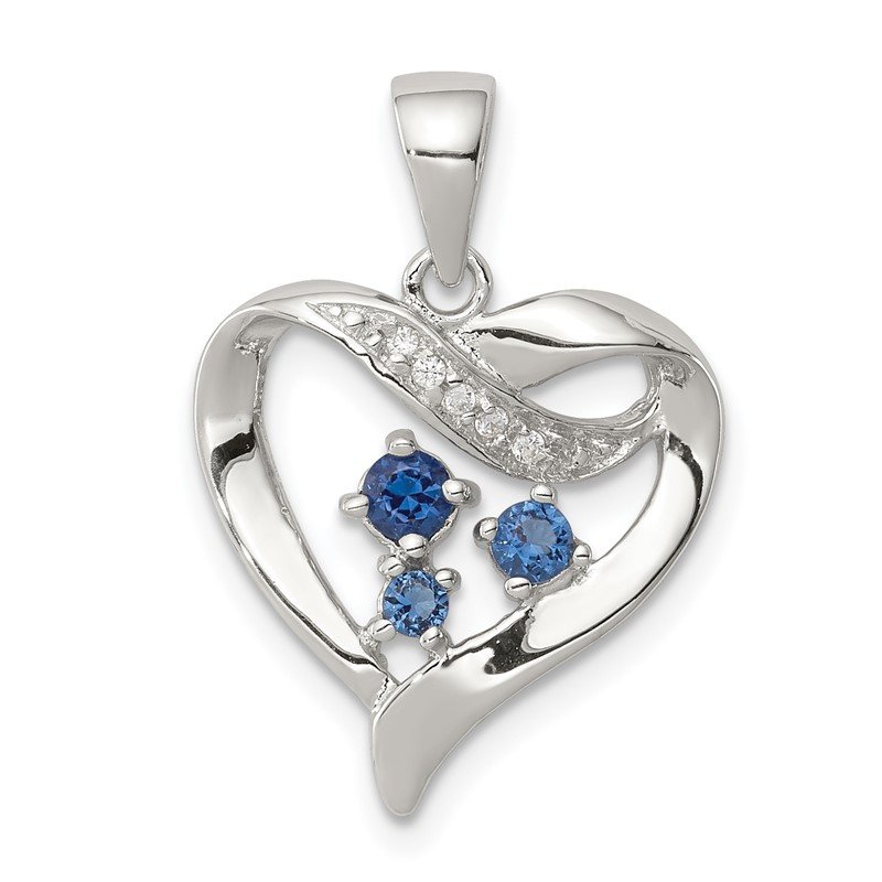 Quality Gold Sterling Silver Clear & Blue CZ Heart Pendant