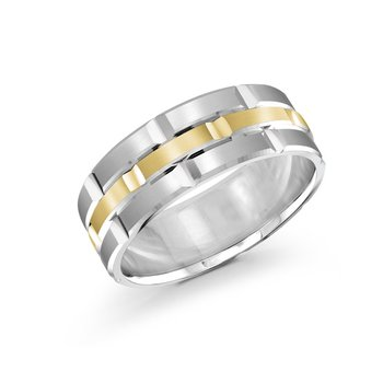 Trendy 8mm white and yellow gold brick motif satin finish band with high polished grooved accents