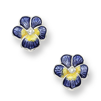 Sterling Silver Pansy Stud Earrings-Purple.  Diamonds.