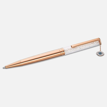 Crystalline Evil Eye Ballpoint Pen, White, Rose-gold tone plated