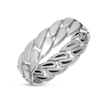 Gourmette Link Bangle &Ndash; 18K White Gold