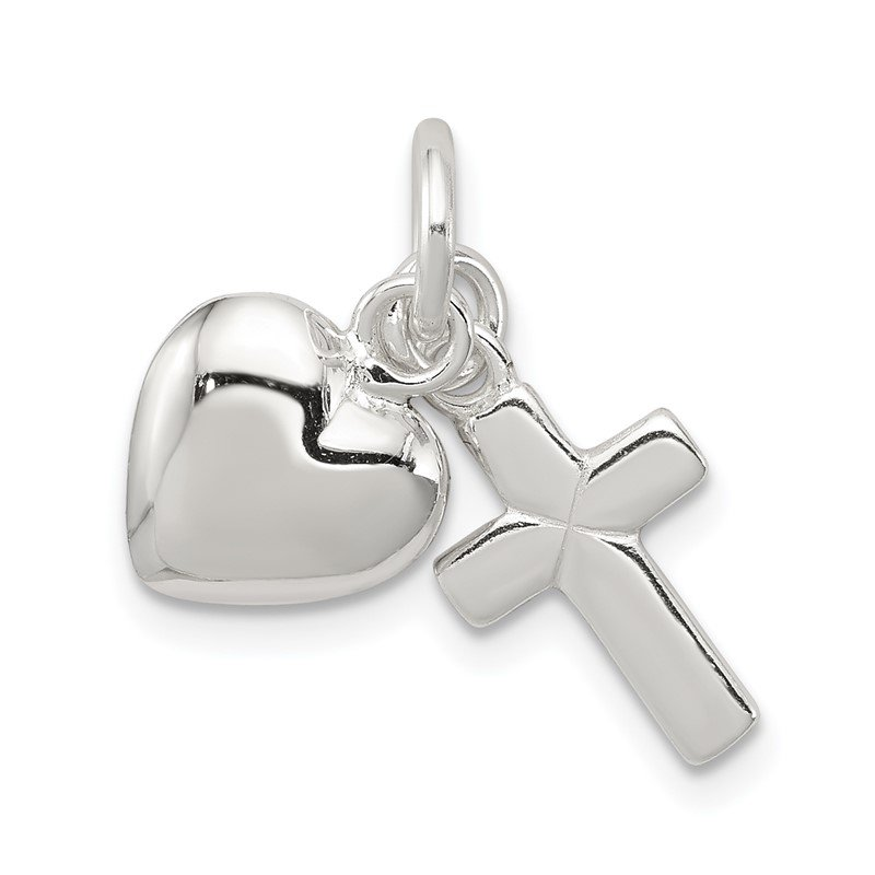 Quality Gold Sterling Silver Cross with Heart Charm Pendant