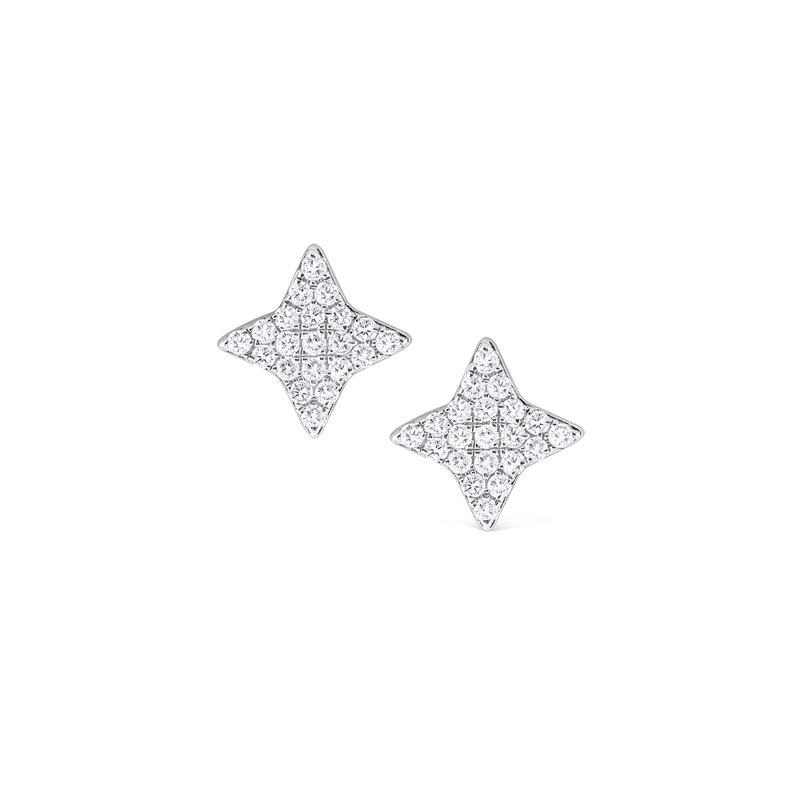 MAZZARESE Fashion Diamond Pavé Four Point Stud Earrings Set in 14 Kt. Gold