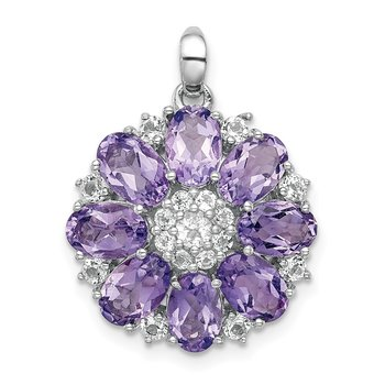 Sterling Silver Rhodium-plated Amethyst & White Topaz Pendant