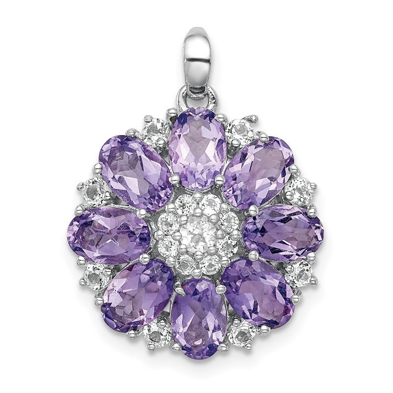 Fine Jewelry by JBD Sterling Silver Rhodium-plated Amethyst & White Topaz Pendant