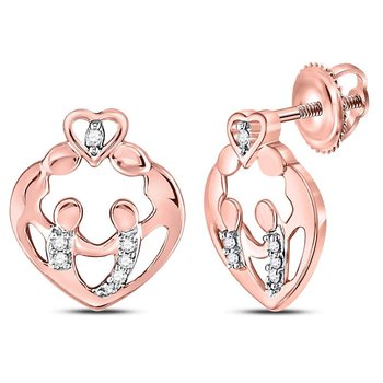 10kt Rose Gold Womens Round Diamond Mother Child Heart Stud Earrings 1/12 Cttw