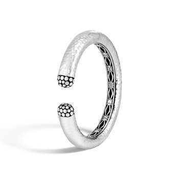 Dot 12MM Kick Cuff in Hammered Silver