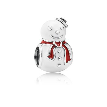 Happy Snowman, White & Red Enamel
