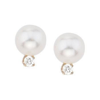 14kt Yellow Gold 6 mm Freshwater Cultured Pearl and Diamond Stud Earrings (.06 carat)