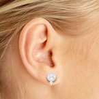 14kt Yellow Gold 6 mm Pearl and Diamond Stud Earrings (.06 carat)