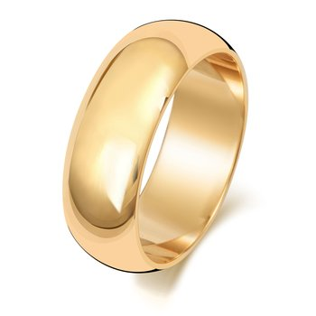 18Ct Yellow Gold 7mm D Shape Wedding Ring