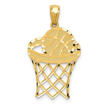 14k Yellow Gold Basketball Pendant