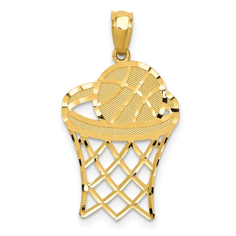 Quality Gold 14k Yellow Gold Basketball Pendant
