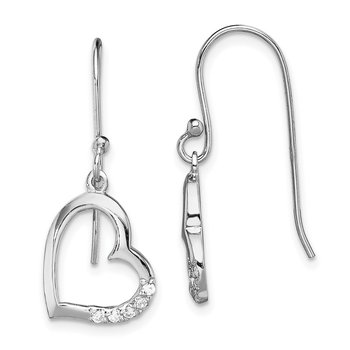 Sterling Silver Rhodium-plated CZ Heart Dangle Earrings