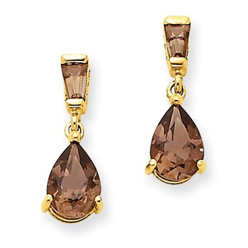 14k Gold Smoky Quartz Post Earrings