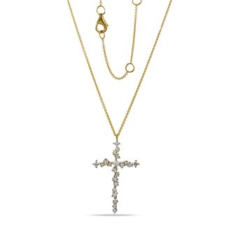 "14K Intricate Cross 22 Diamonds 0.67C 18"" chain"