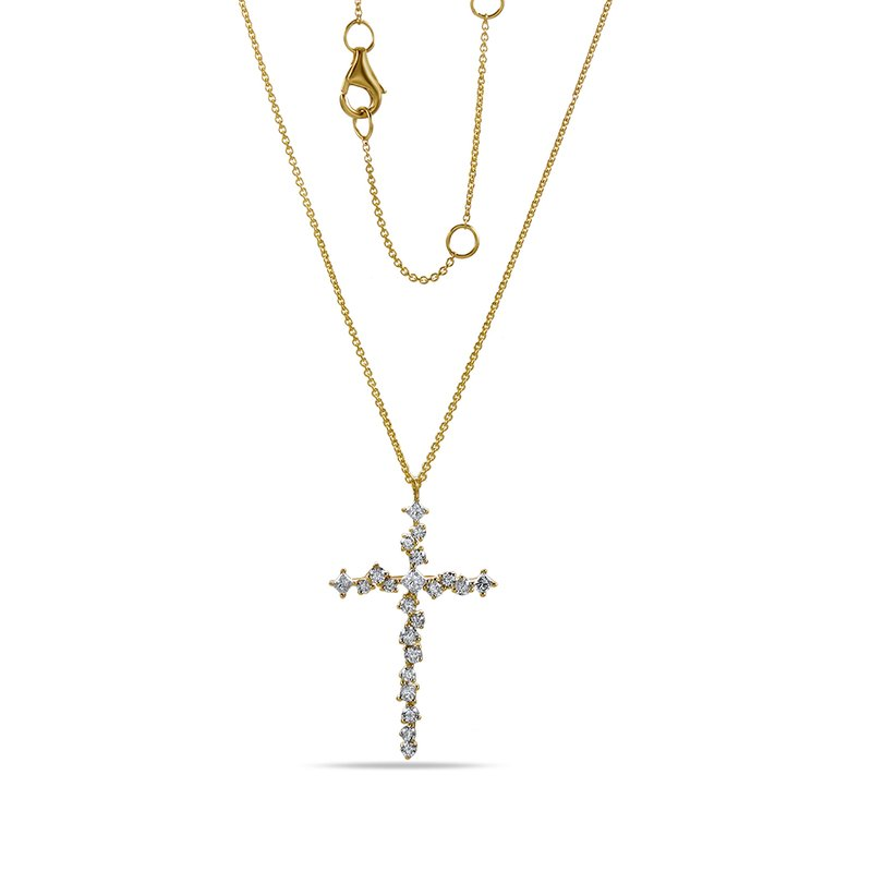 "Shula NY 14K Intricate Cross 22 Diamonds 0.67C 18"" chain"