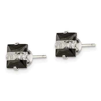 Sterling Silver Black and White CZ 6mm Square Post Earrings