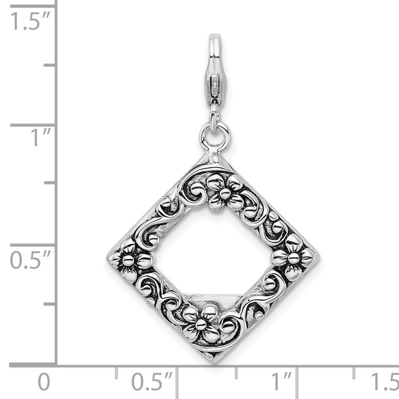 Quality Gold Sterling Silver Amore La Vita Rhodium-plated Antiqued Photo Charm