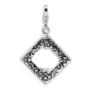 Sterling Silver Amore La Vita Rhodium-plated Antiqued Photo Charm