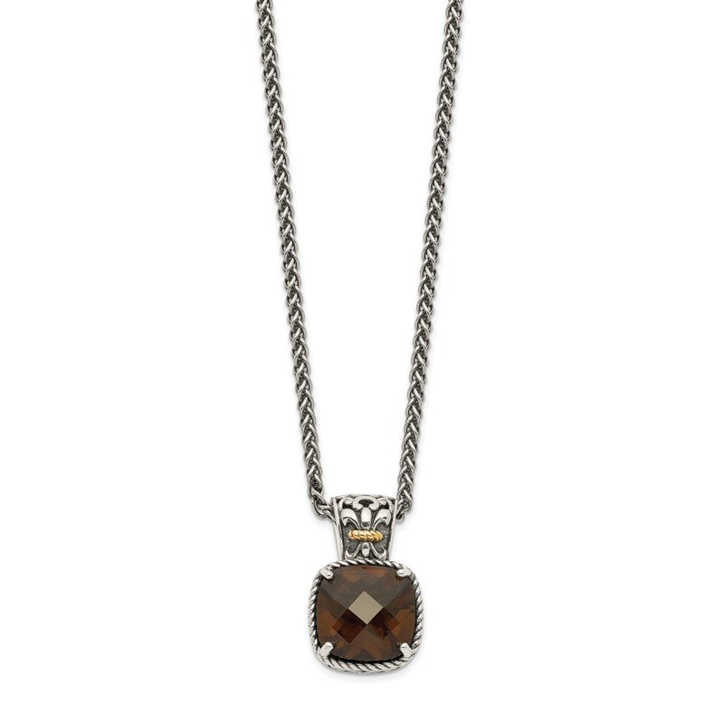 Quality Gold Sterling Silver w/14k Smoky Quartz Necklace