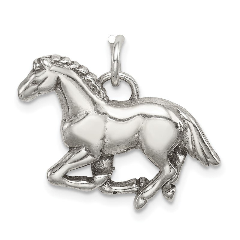 Quality Gold Sterling Silver Antiqued & Textured Horse Pendant