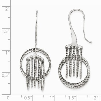 Leslie's Sterling Silver Laser-cut Dangle Shepherd Hook Earrings
