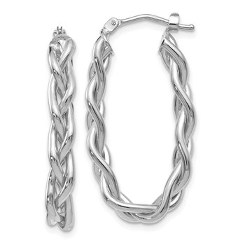Leslie's 14k White Gold Braided Hoop Earrings