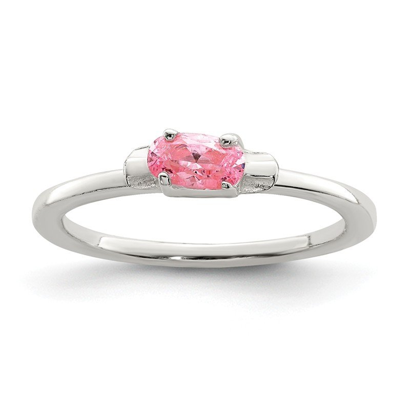 Quality Gold Sterling Silver Pink CZ Candy Kid's Ring