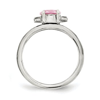 Sterling Silver Pink CZ Candy Kid's Ring