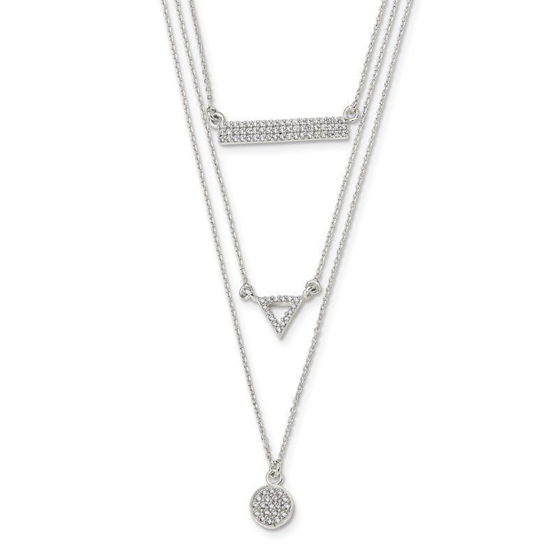 Quality Gold Sterling Silver CZ Circle Triangle and Bar 3-Strand Necklace