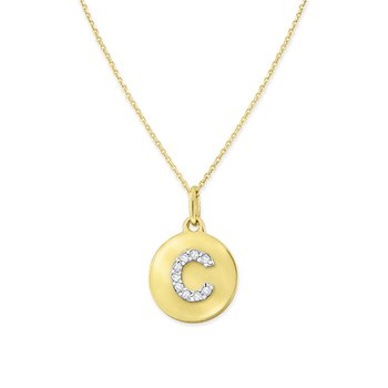 Diamond Uppercase Mini Disc Initial C Necklace