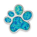 Lester Martin Online Collection Sterling Silver Rhodium-plated Created Opal Inlay Paw Print Chain Slide
