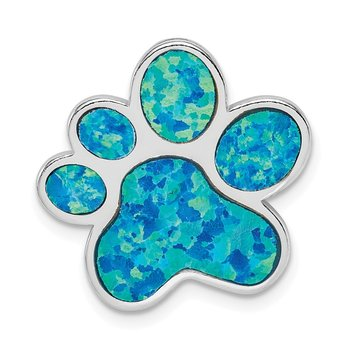 Sterling Silver Rhodium-plated Created Opal Inlay Paw Print Chain Slide