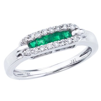 14k White Gold Square Emerald and Diamond Ring