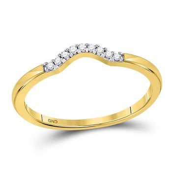 10kt Yellow Gold Womens Round Diamond Contoured Solitaire Enhancer Wedding Band 1/20 Cttw