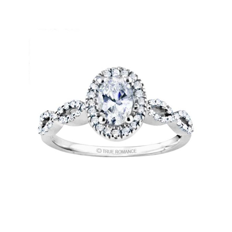 True Romance Oval Cut Halo Diamond Infinity Engagement Ring