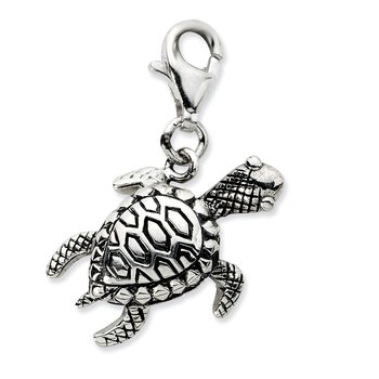 Sterling Silver Click-on Antiqued Turtle Charm