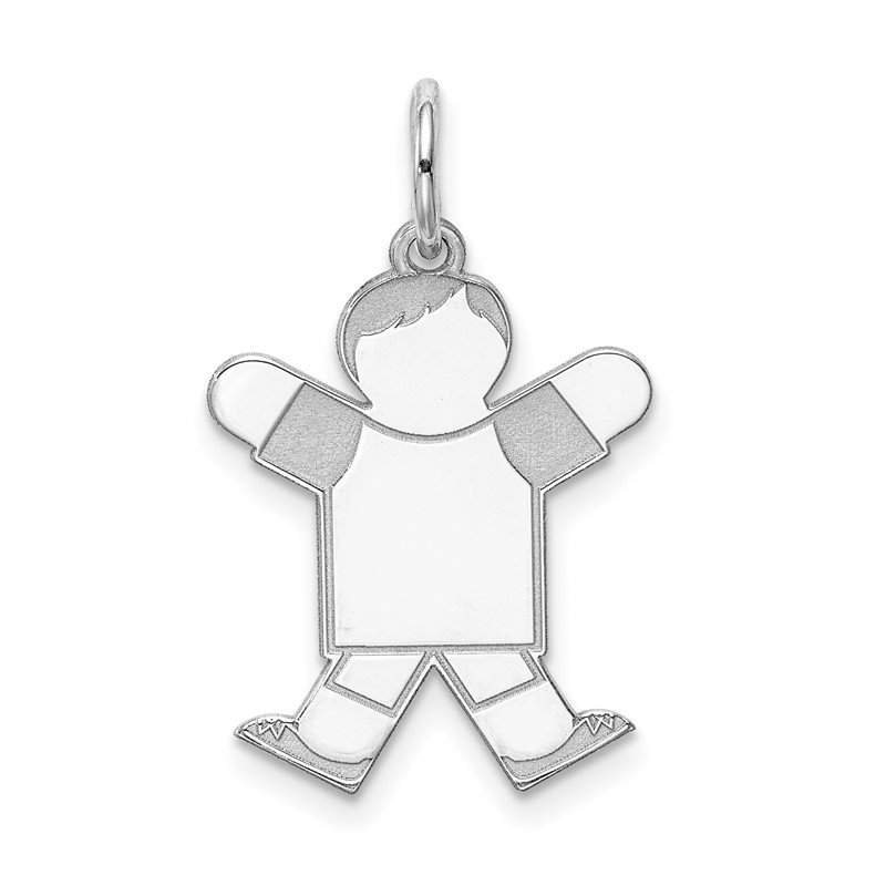Arizona Diamond Center Collection Sterling Silver Rhodium-plated Kid Charm