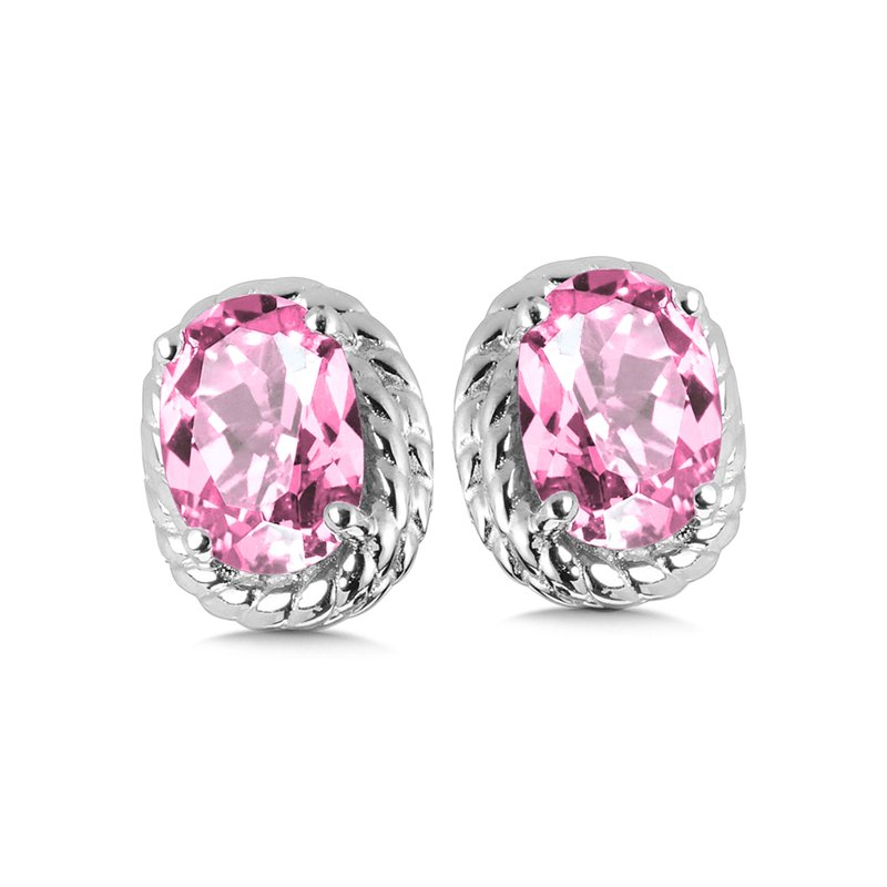 SDC Creations Created Pink Sapphire Earrings in Sterling Silver