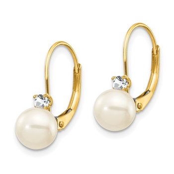 14k 6-7mm White Round FW Cultured Pearl AA Diamond Leverback Earrings