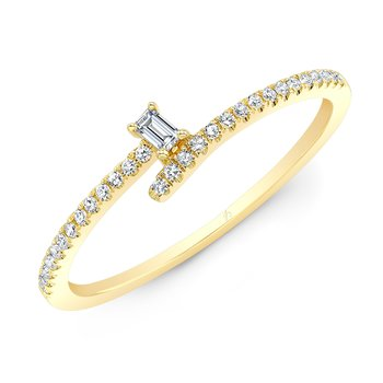 Yellow Gold Bypass Baguette Ring