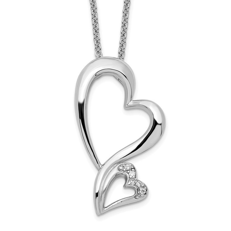 Quality Gold Sterling Silver & CZ Protected Heart 18in Necklace