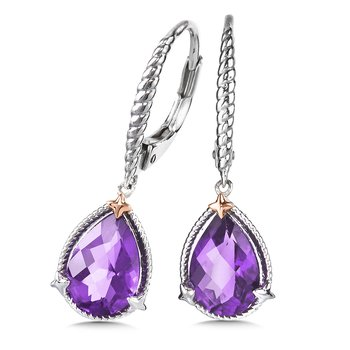Sterling Silver and 18K Rose Gold Amethyst Leverback  Earrings